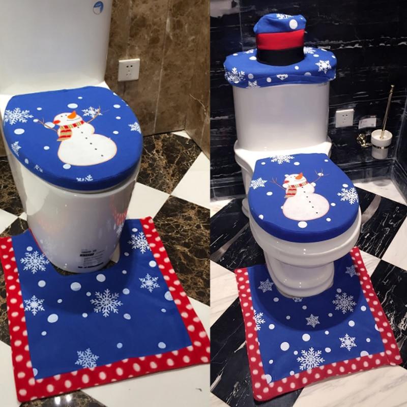Blue 3Pcs Set Santa Toilet Seat Cover Bathroom Set Xmas Decoration Home Christmas Supplies