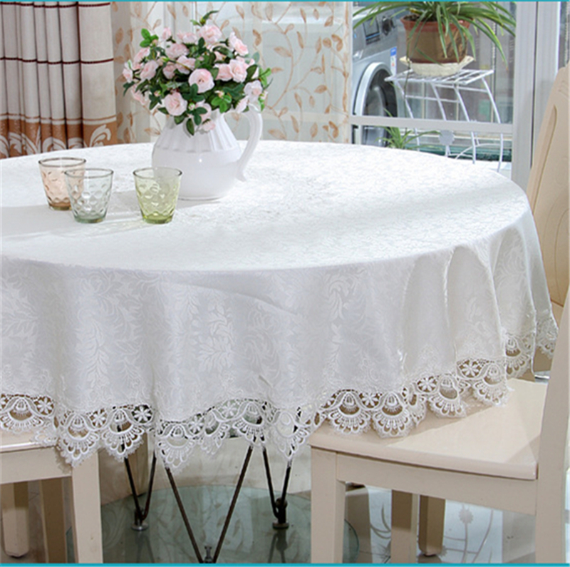 Europe Style Wedding Tablecloth Embroidered Floral White Round Tea Table  Cloth For Table Cover Hollow Lace Rectangle Table Decor
