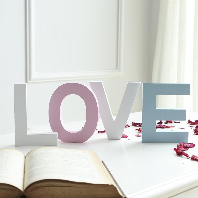 15cm / 10Cm Freestanding Wooden Word Color Letter Crafts Wedding Party Home Decoration DIY Custom Decoration Name Design