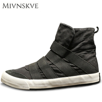 MIVNSKVE Nice New Classic Men Canvas Shoes Black Grey Men Casual Shoes Lace UP Solid Men
