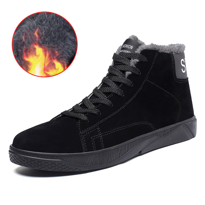 2018 New Style Winter Casual Snow Boots Fashion Men Comfortable Warm Ankle Boots High Quality Wear-resisting Non-slip Men Shoes xiu xian warm plush winter ankle boots for women slip on comfortable lady shoe 2017 new fashion casual young style handsome girl