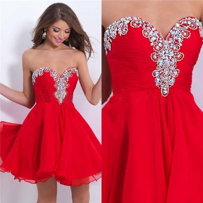 2015 New Arrival Short Red Cocktail Dress Women Elegant