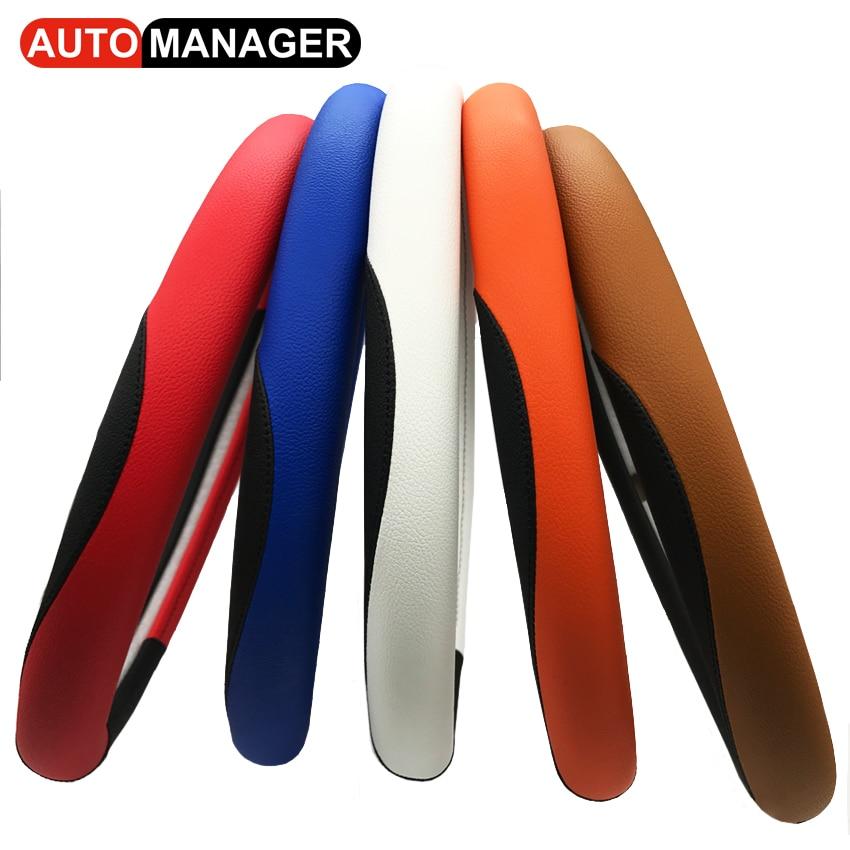 Autostuurwielafdekking 15 inch Pu lederen autohoezen op het stuur - Auto-interieur accessoires - Foto 4
