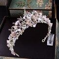Barroco rosa perla rhinestone coronas de novia hechos a mano de cristal tiara diadema diadema corona de la reina de la boda de la boda accesorios para el cabello