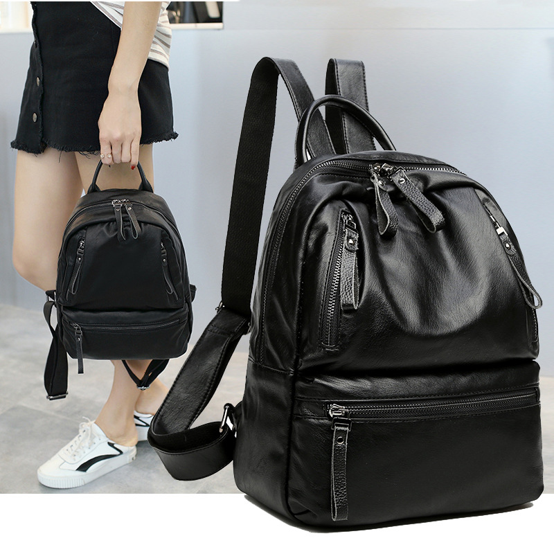 NEW Women Backpack PU Leather Preppy Black Large Capacity Ladies Travel Shoulder Bag Zipper Women Backpacks for iPAD School Bags pgm new golf clothing travel bag manmgolf shoes bag package soft pu ball bag large capacity clothes bag black woman