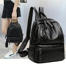 Новый Для женщин рюкзак искусственная кожа опрятный черный большой Ёмкость Женская дорожная сумка на молнии Для женщин Рюкзаки для Ipad Школьные сумки