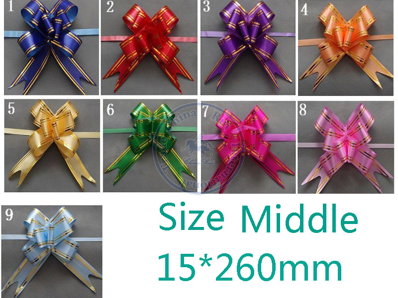 Size Middle 15*260mm Pull Bows Ribbons Gift Wrapping Wedding Party Decoration Pullbows multi color option