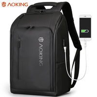 Aoking Expandable Laptop Backpack College Fashion Black Backpack Men Anti Theft Backpack USB for School Rucksack Travel Bagpack
