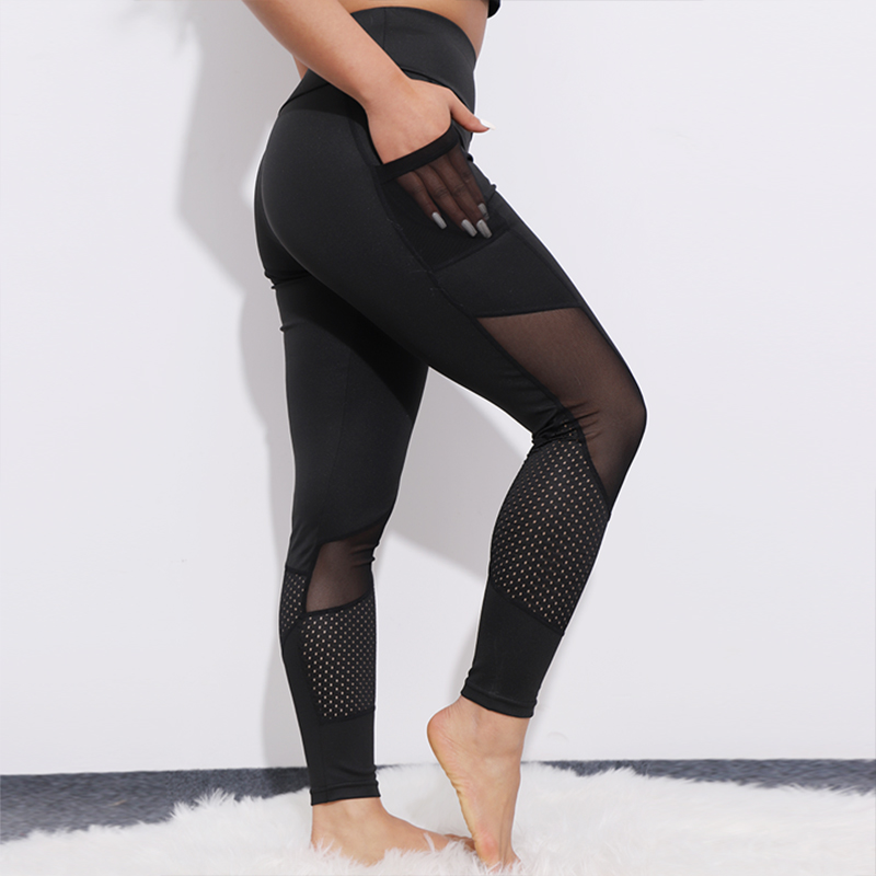 CHRLEISURE Fitness Leggings Pant Activewear Pocket Mesh Heart-Shaped Push-Up Elastic