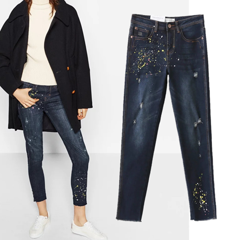 Freeshipping jeans woman jeans 2017 European and American wind ladies retro inkjet scratch feet cowboy pants