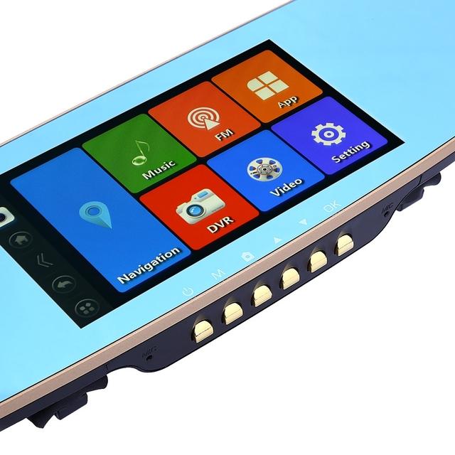 A07 Android 4.4.2 Pantalla Táctil de 5.0 pulgadas 1080 P Full HD Espejo Retrovisor de coche DVR de Doble Cámara GPS WIFI de la Ayuda FM transmisor