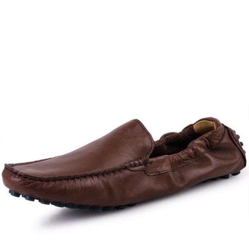 แฟชั่นโลฟเฟอร์ผู้ชายรองเท้าฤดูใบไม้ผลิฤดูร้อนที่มีคุณภาพสูงหนังวัวรองเท้านุ่มระบายอากาศสบายๆสลิปในการขับรถผู้ชายแฟลตรองเท้า-ใน รองเท้าลำลองของผู้ชาย จาก รองเท้า บน   1