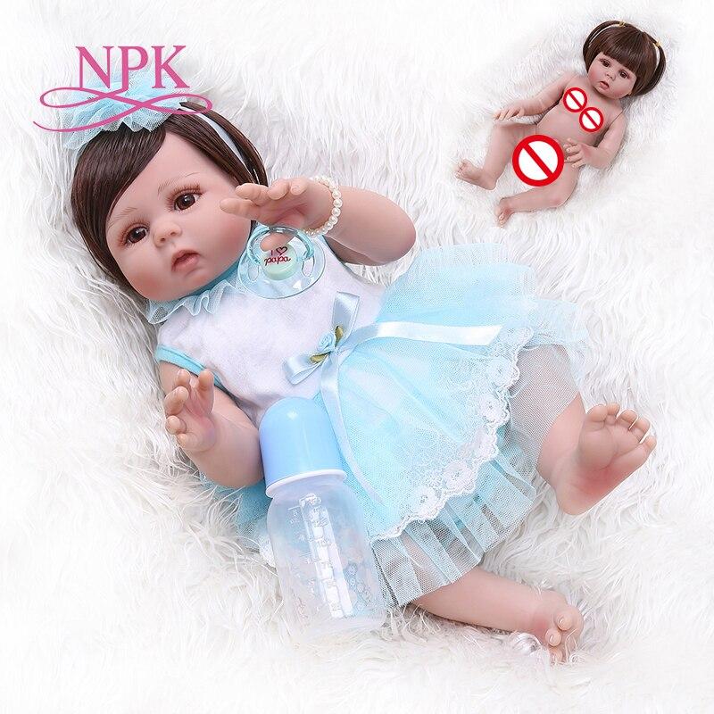 NEW 49CM toddler newborn bebe doll reborn baby girl in tan skin full body silicone soft