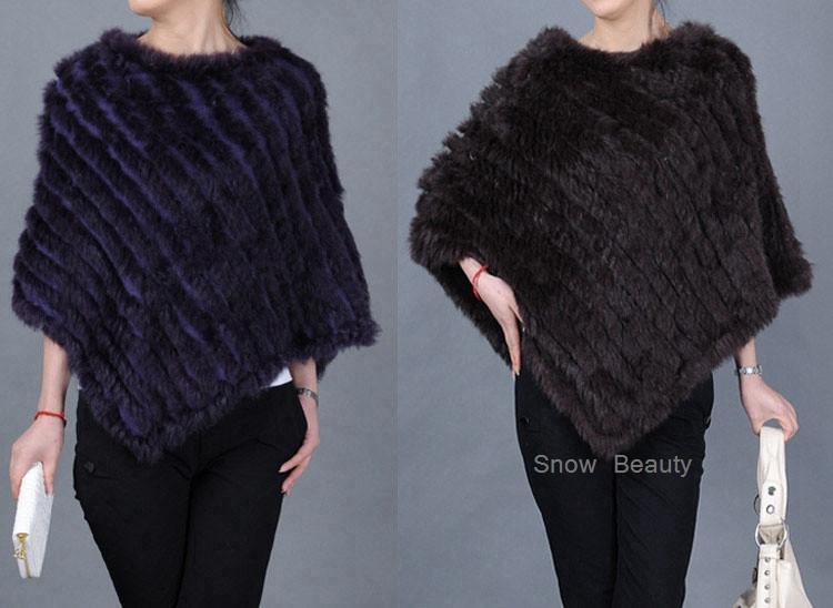 natural real knitted rabbit fur poncho shawl (31)