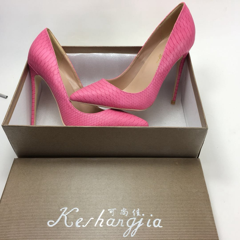 2018 new pink colors high heeled women s pumps shallow slip on Wild ladies thin heels