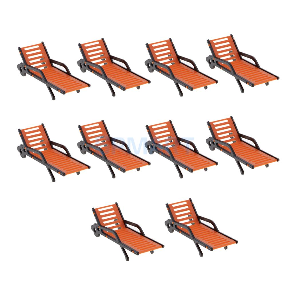 Pack of 10 Miniature Plastic Beach Bench Sun Loungers Chair Settee Model Miniature Landscape Scenery Layout DIY Parts Toys