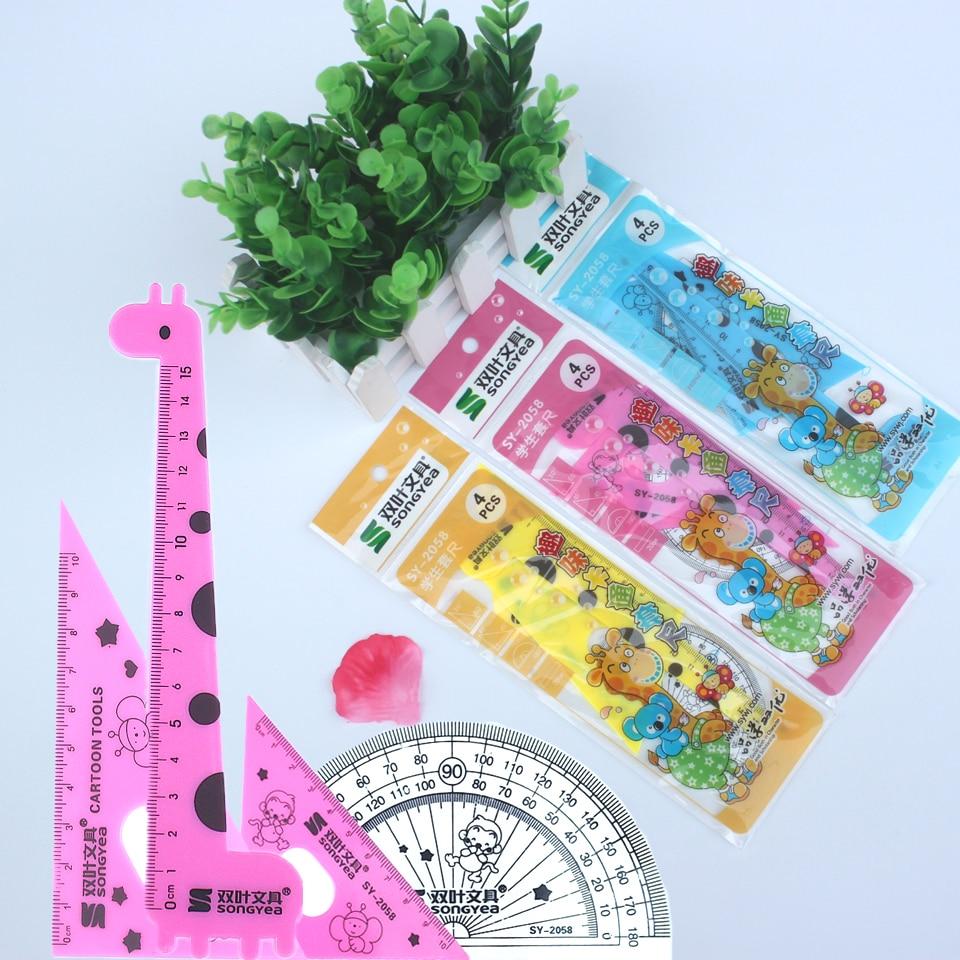 New Arrival 4PCS Cute Ruler Set Supplies Kawaii Animal Creative Cartoon Students Shape School Tools Stationary