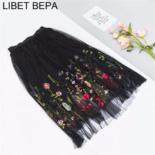 2017 New Puff Women Mesh Tulle long Skirt Fashion Vintage Pleated Floral Embroidery Elegant Female Mid-Calf Tutu Skirts SP043(China)