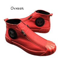 Ovxuan Touring Shoes Luxury Brand Metal Star Buckle Shell Toe Double Zipper High Handmade Loafers Outdoor Motorcycle Shoes Men