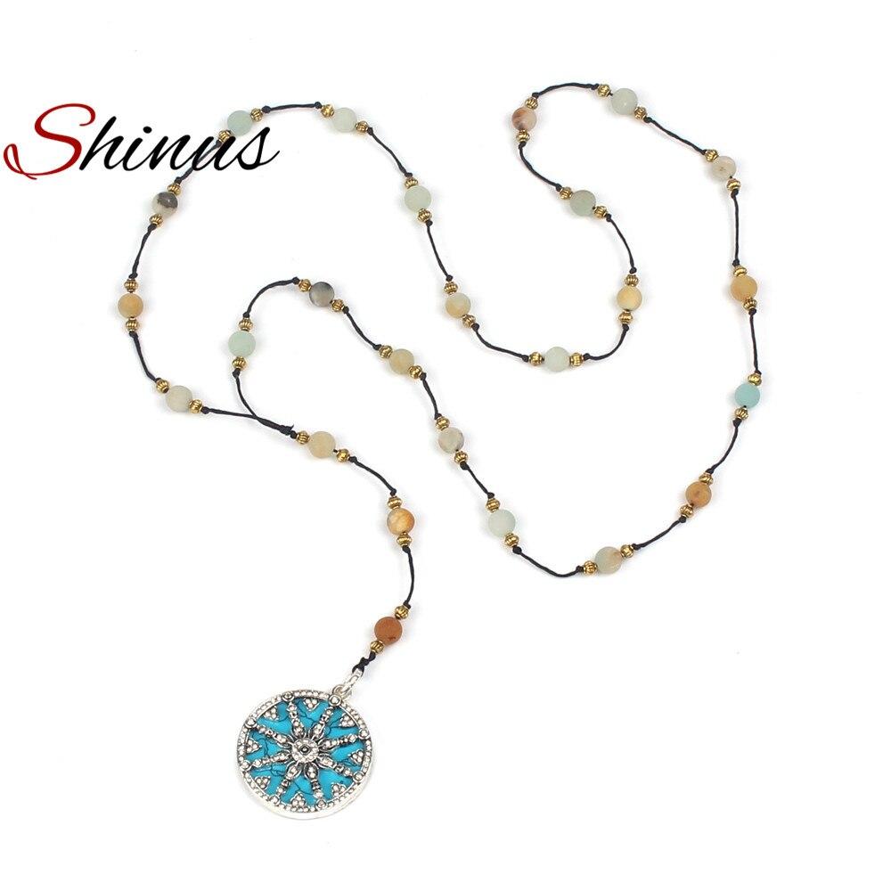 Shinus Цепочки и ожерелья заявление Boho Для женщин чакра Ожерелья для мужчин ювелирные изделия колье Femme мала Бусины богемной моды чудо-женщина ...