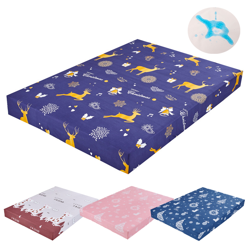 80-220cm Fashion Print Bed Mattress Cover Waterproof Mattress Protector Pad Fitted Sheet Separated Water Bed Linens With Elastic