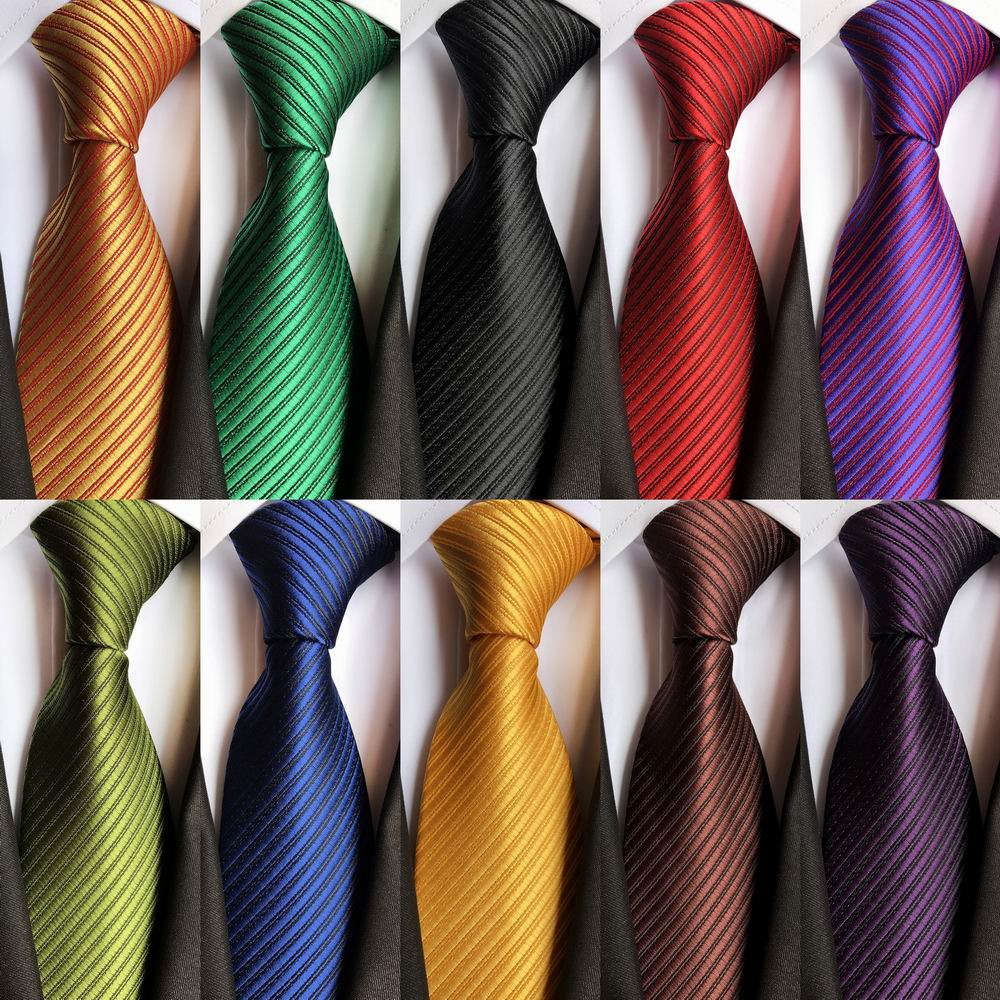 New Brand 8cm Classic Solid Color Striped Ties For Men Jacquard Woven 100% Silk Tie Business Wedding Party Men's Tie Necktie