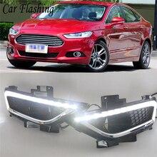 Автомобильная проблесковая 1 набор 12 V, АБС-пластик, Автомобильный светодиодный дневные ходовые огни для Ford Mondeo Fusion 2013 дневные ходовые огни светильник светодиодный противотуманная фара крышка