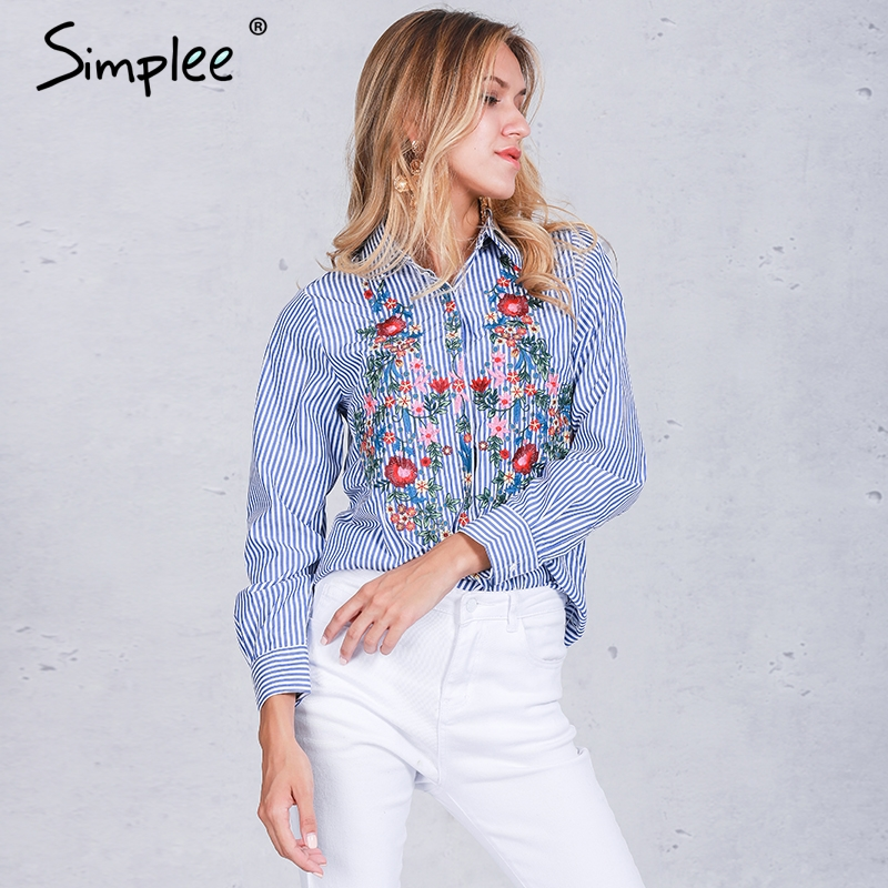 Simplee Embroidery female blouse shirt Casual blue striped ss