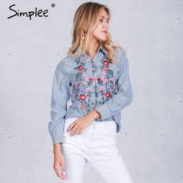 Simplee вышивка женский блузка рубашка Повседневная рубашка в синюю полоску 2016 на осень-зиму Прохладный блуза с длинным рукавом Женские топы blusas