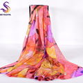 [BYSIFA] Winter Women Long Scarves New Design Ladies Accessories Pure Silk Scarf Cover Ups 200*110cm Female Pink Scarves Wraps