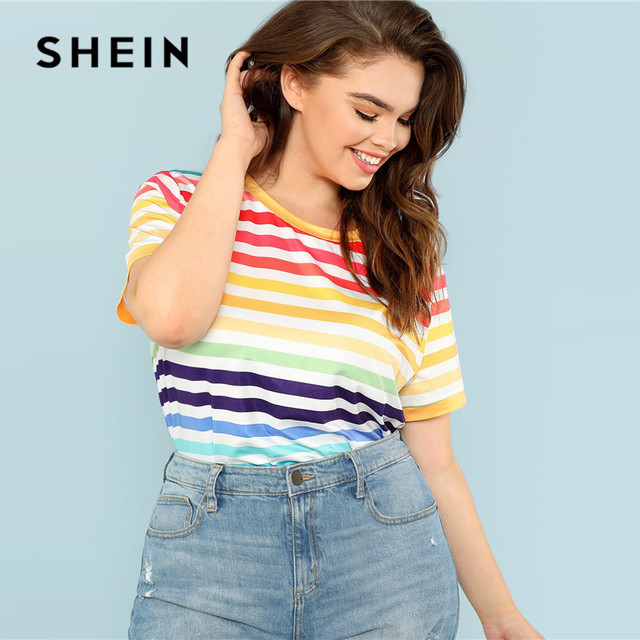 759bdecb6c04 SHEIN Plus Size Colorful Striped T-Shirt 2019 Women Summer Casual  Multicolor Stretchy Round Neck
