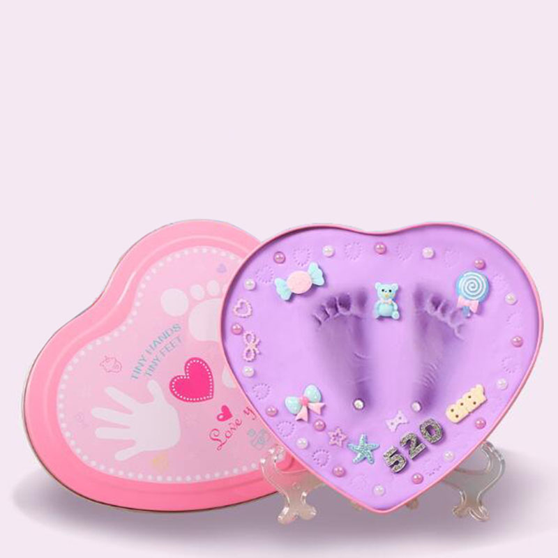 2018 Blue And Pink Box Baby Souvenirs Hand & Footprint Makers Newborn Soft Modeling Clay Inkless Printing Sets For Infants