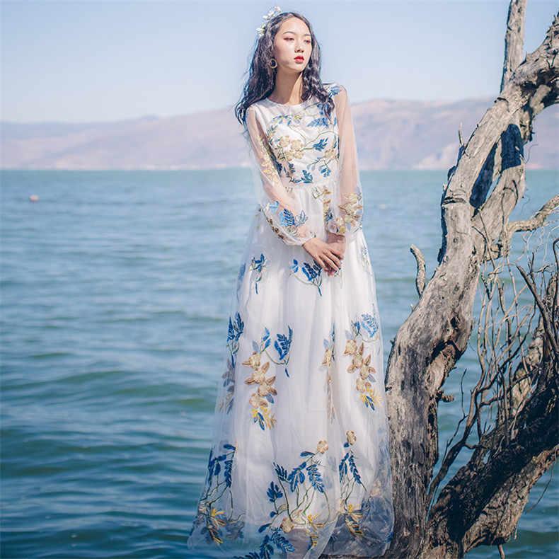 Nouvelle haute qualité Explosions loisirs élégant dentelle broderie robes femmes printemps été décontracté chemise robe