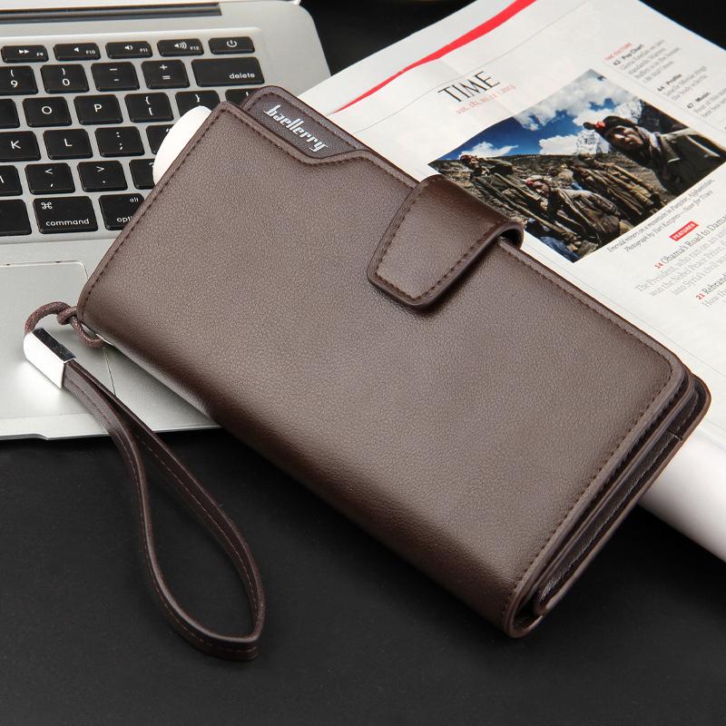 Top Quality leather long wallet men zipper wallets men women money bag pocket mltifunction brown one size 7
