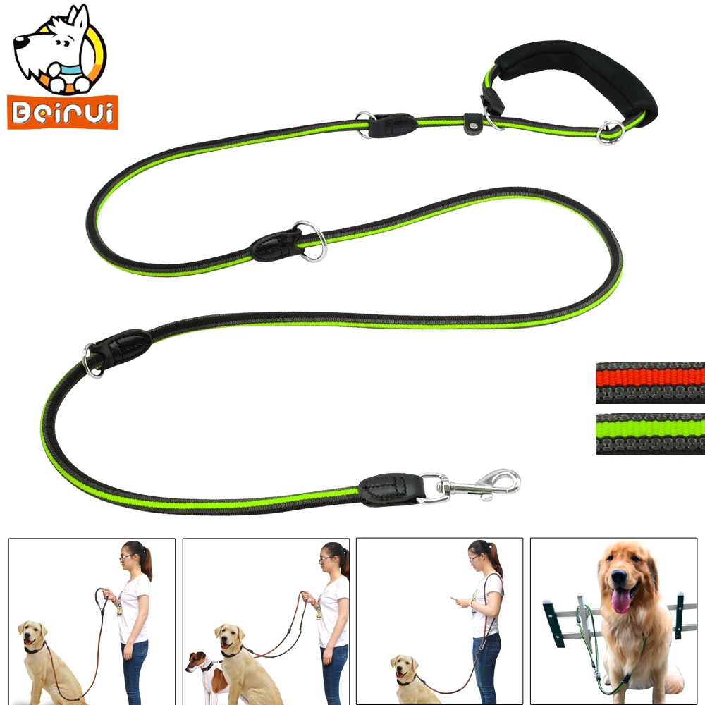 Reflective Multifunction Dog Leash Hands Free Non-slip Dogs Leads Double Dog Leashes with Soft Handle For One or Two Dogs