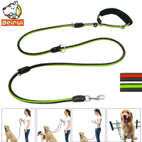 Reflective Multifunction Dog Leash Soft Handle Night Safe Non Slip Medium Pet Leads Hands Free For