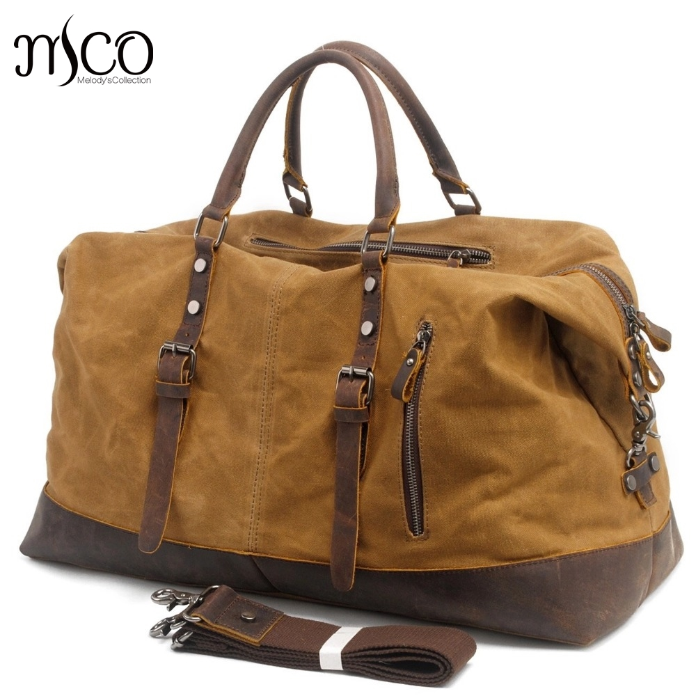 MCO Vintage Waxed Canvas Men Travel Duffel Large Capacity Oiled Leather Military Weekend Bag Basic Holdall