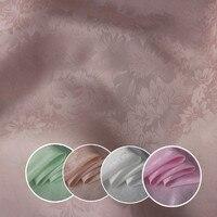16 momme rose jacquard re crepe silk fabric high grade dress dress Sangbo satin peach pattern DIY clothing materials ZY0506