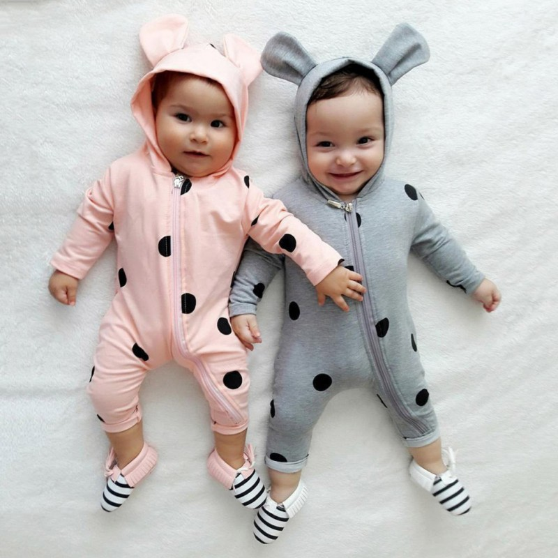 2018 Warm Newborn Baby Set Girl Boy Bear Ear Hooded Polka Dots Romper Jumpsuit Outfits Clothes Baby Boy Girl Clothes Pink/Grey
