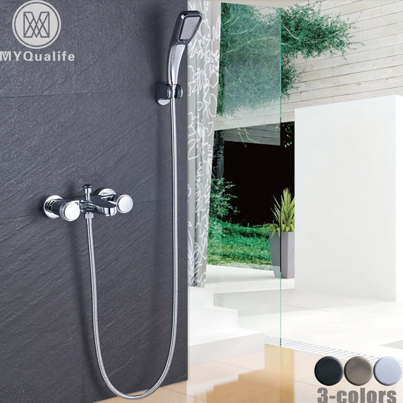 Dual Handle Bathroom Shower Faucet Wall Mount Handheld Shower Mixers with Bracket Chrome Hot and Cold Water Taps wall mount 10 inch thermostatic bathroom shower faucet mixer taps dual handle with hand held shower chrome finish