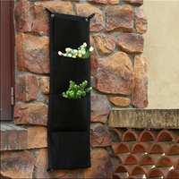 4 Pockets Hanging Flower Pots Vertical Wall Gardening Planter Home Decoration Green Wall Planting Bag Felt