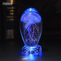 Creative Gifts Jellyfish Model 3D LED Multicolor Lighting Lamp Crystal Table Lamp For Holiday Room Decoration Night Light