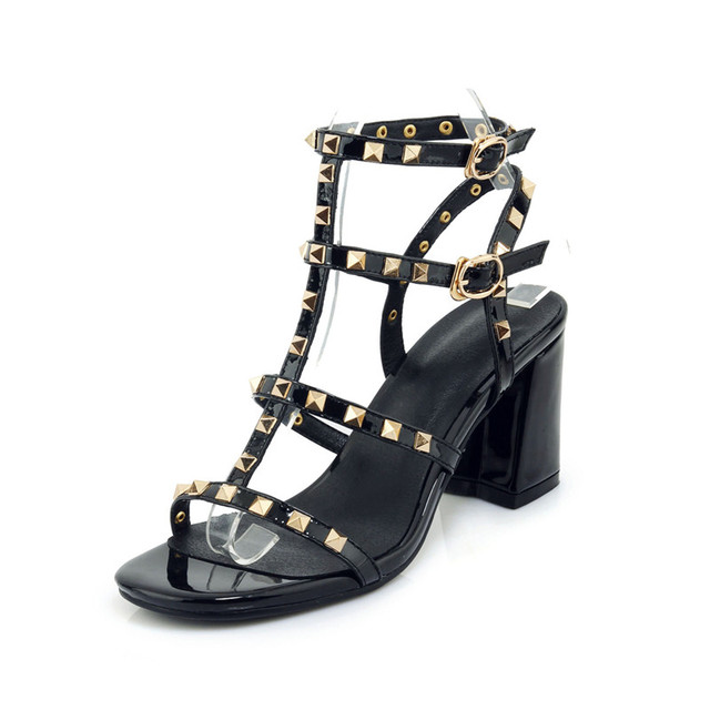 a17bf7574fd Rimocy Patent Leather Gladiator Sandals Women Punk Rivets Chunky High Heels  Party Shoes Ladies Open Toed Buckle Sandals 33-40