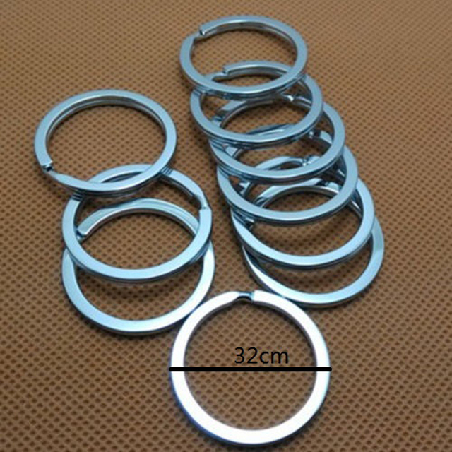 LNRRABC Lot 10 Pcs 32mm Metal Key Holder Split Rings Unisex Keyring Keychain Keyfob Accessories Free Shipping