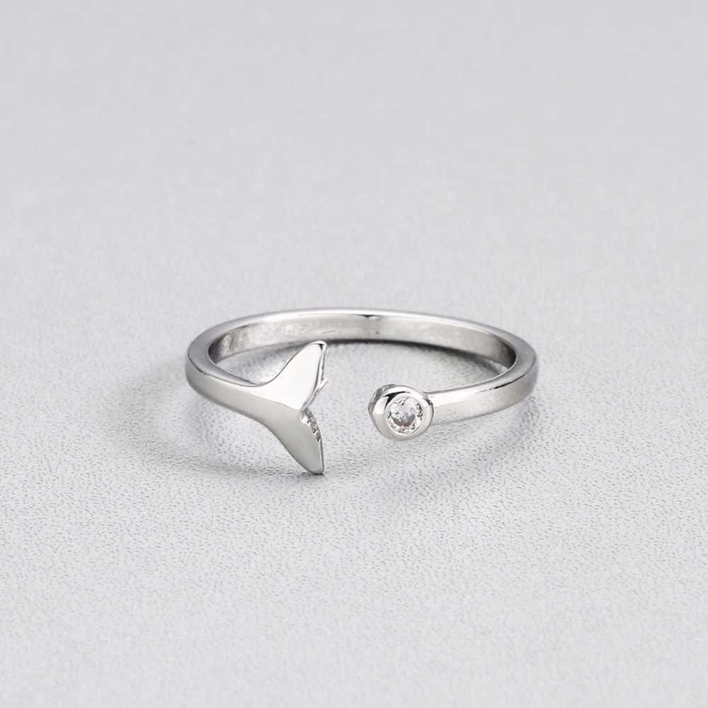 Cxwind kryształ boho ogon syreny pierścienie dla kobiet urok trójkąt biżuteria prezent dla dziewczyn dzieci Lady prezent palec wieloryb pierścień Bijoux