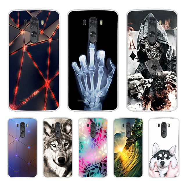 Phone Case For LG G3 Soft Silicone TPU Cute Cat Flower Painted Back Cover For LG G3 D850 D851 D855  Case