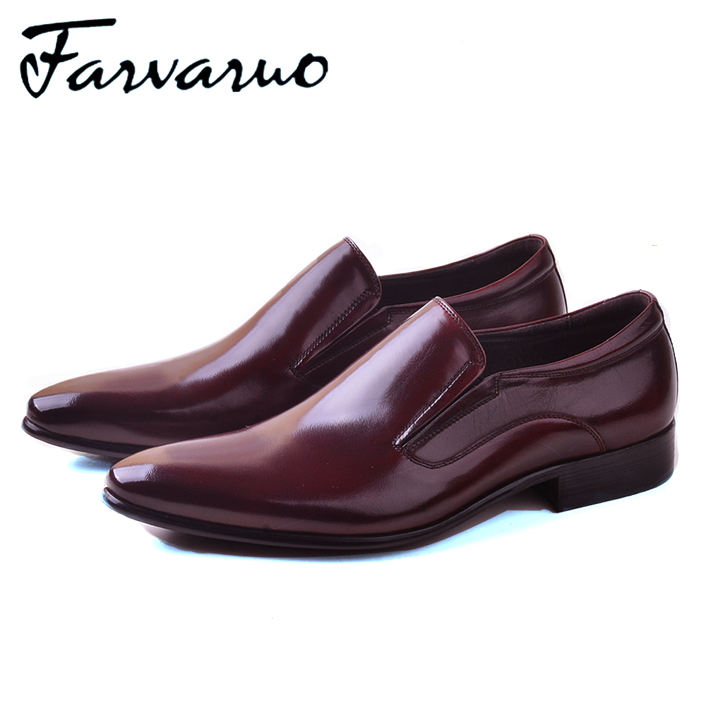 Farvarwo Oxford Shoes for Men Italian Genuine Leather Dress Shoes Pointed Toe Men Slip-On Casual Formal Flat Loafer High Quality