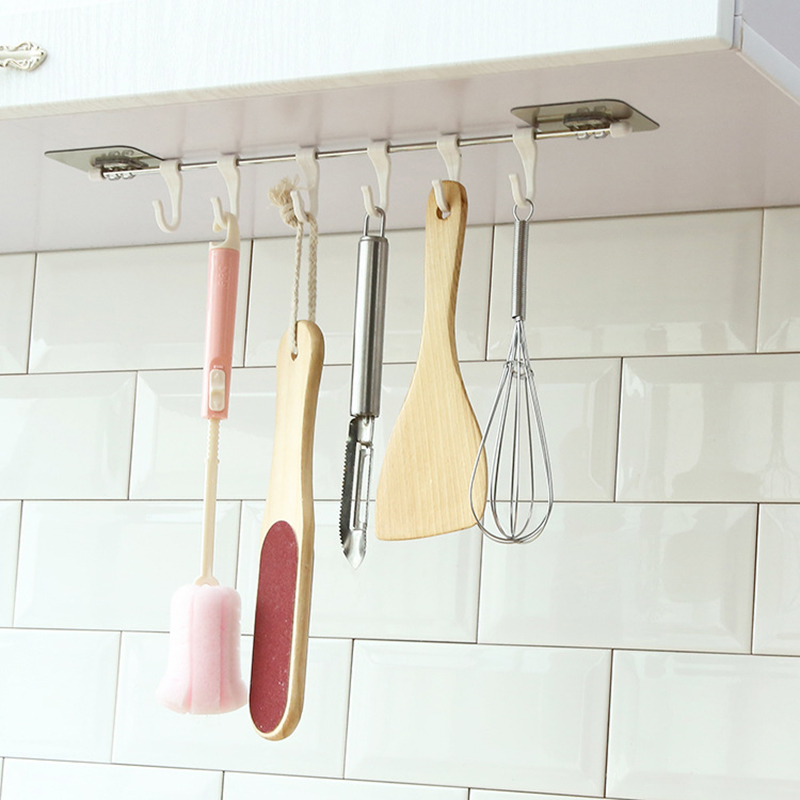 Wall Mounted Kitchen Organizer and Hanger with 6 Hooks for Storage Kitchen Tools 1