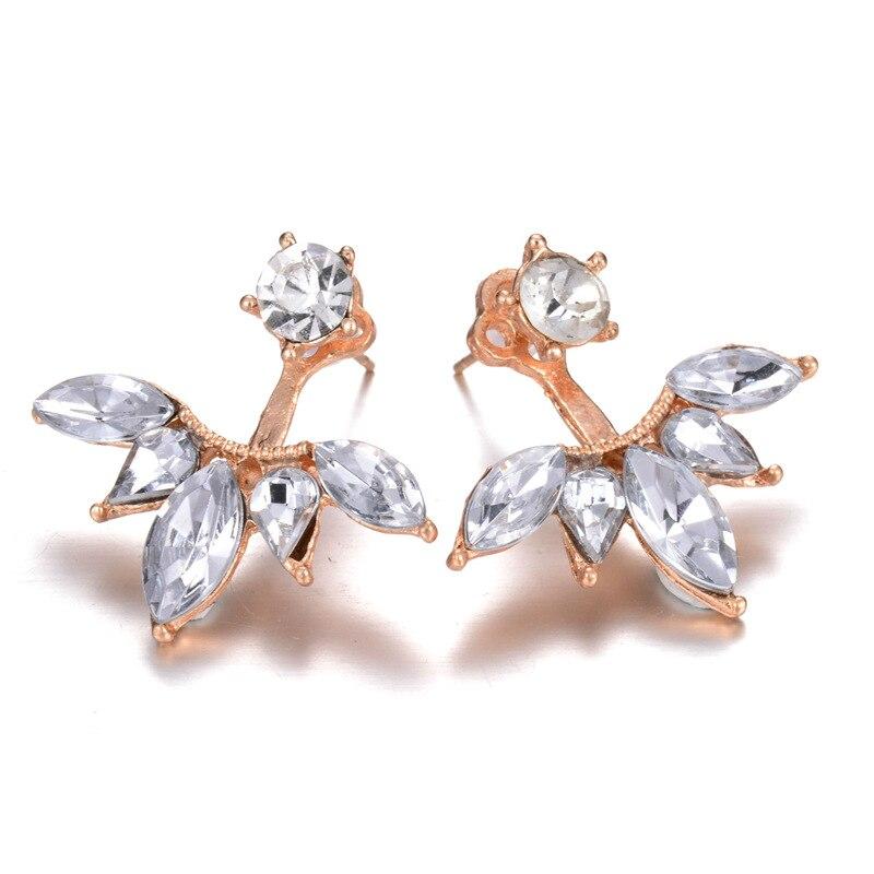Brincos Femme Ear Stud Gold Silver Plated Leave Crystal Stud Earrings Fashion Jewelry Statement Earrings Boucles D'oreille Women