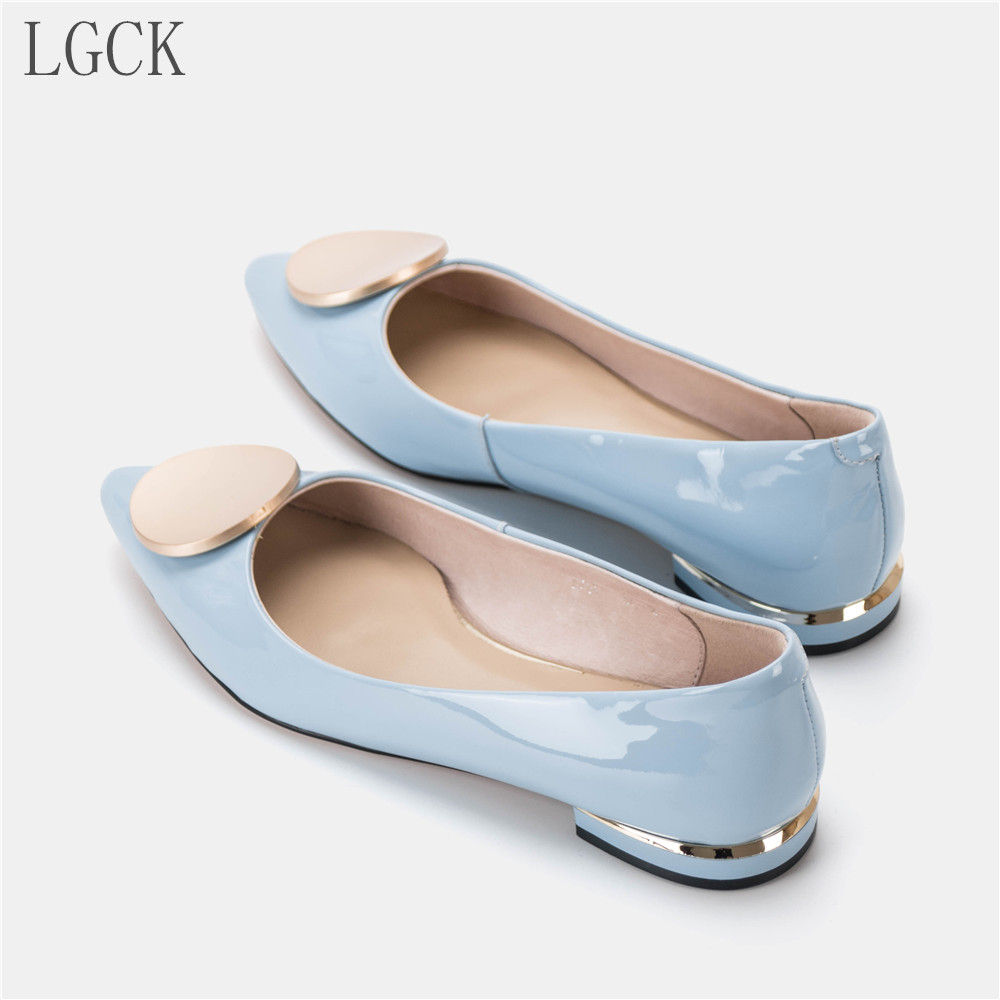 Plus Size 34 42 Genuine Leather Women Shoes New Fashion Women Flat Comfy Shoes Patent Leather